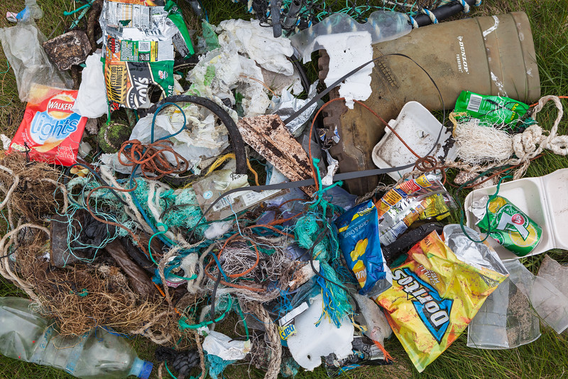 Litter collected from the sea shore at Champ Rouget, Guernsey on 28 April 2013