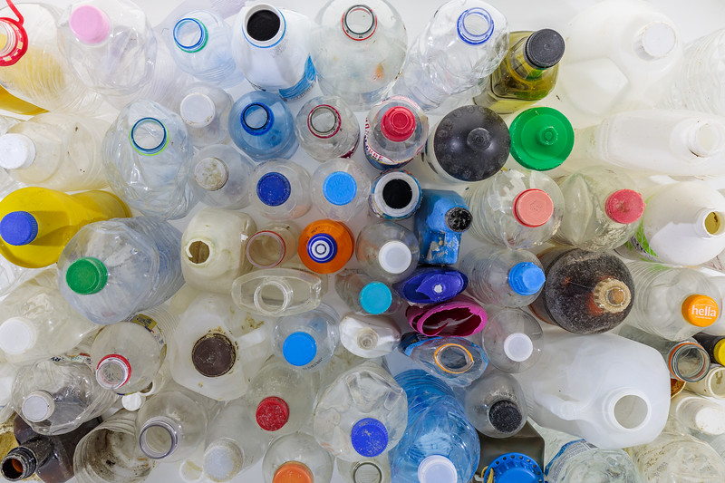 A few of the plastic bottles that have been collected from the Guernsey sea shore in the first five months of 2018