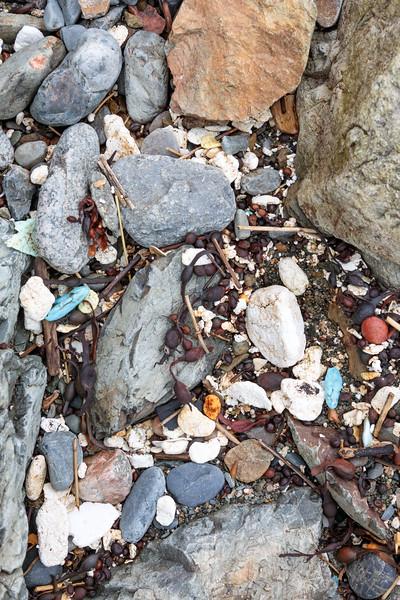 Polystyrene and polyurethane on the Pleinmont sea shore on Guernsey's southwest coast photographed on 28th April 2018