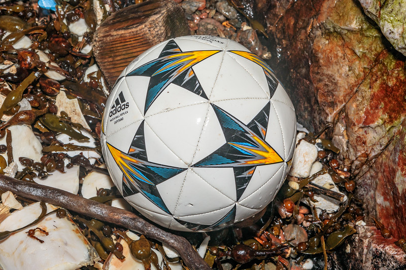 An adidas football washed into a cave in the north east corner of Petit Port on Guernsey's south coast on 10th March 2020