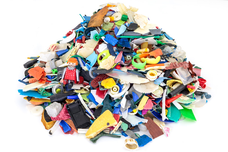 Some of the small plastic pieces collected from the Guernsey sea shore during 2018