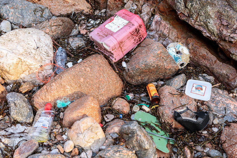 Some of the strand line litter at Petit Port on Guernsey's south coast on 8th February 2019