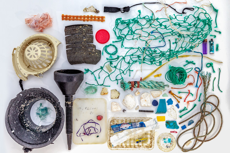 Marine litter collected at Petit Port on Guernsey's south coast by David Grimshaw and donated for photo shoot by Karl Taylor