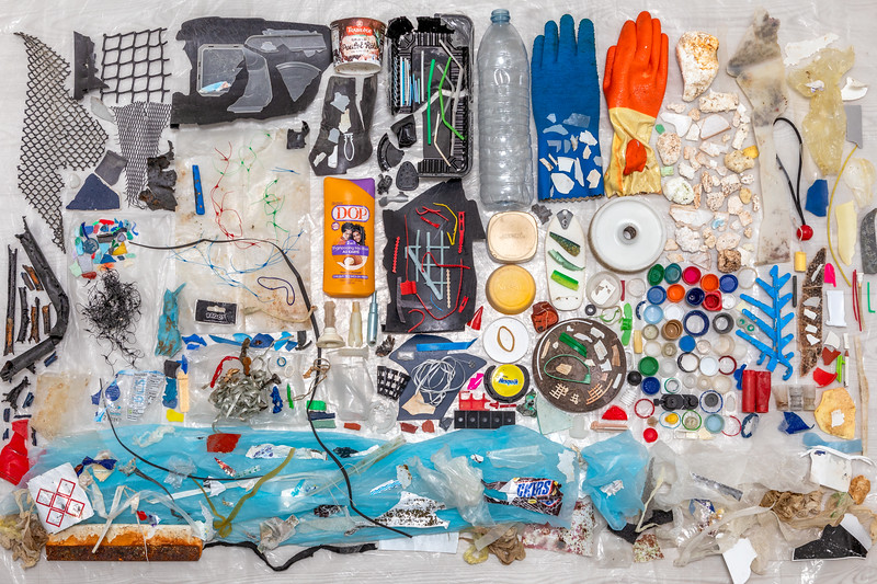 Marine litter not including rope and twine collected from the Petit Port sea shore on Guernsey's south coast