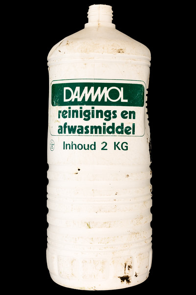 Dammol brand cleaning and dishwashing liquid bottle collected by Lisa Smart from the Guernsey sea shore