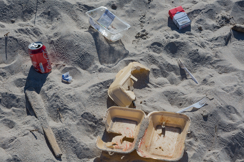 Litter left on the Saline bay beach on Guernsey's west coast by visitors on 24th June 2015