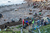 Volunteers pick up marine litter at Petit Port on Guernsey's south coast on 19th January 2014