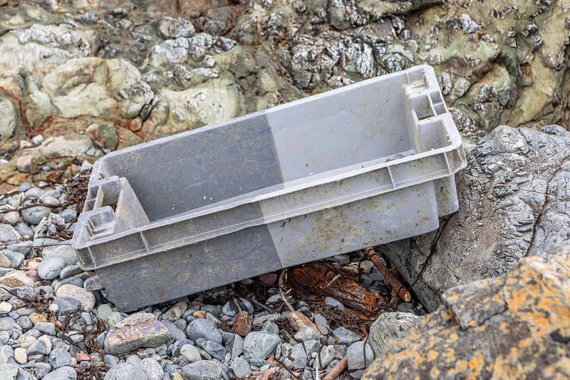 A fish box from Quimper, France washed up at Pleinmont on Guernsey's south west coast on 9th October 2020