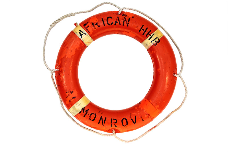 Lifebuoy ring collected by Jo Connelly at Pleinmont on 3 February 2019