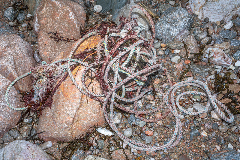 Long length of twisted rope stranded on the Petit Port shore on Guernsey's south coast on 10th March 2020