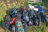 Beach litter hauled to the top of the cliff from Petit Port on Guernsey's south coast on the 19th January 2014