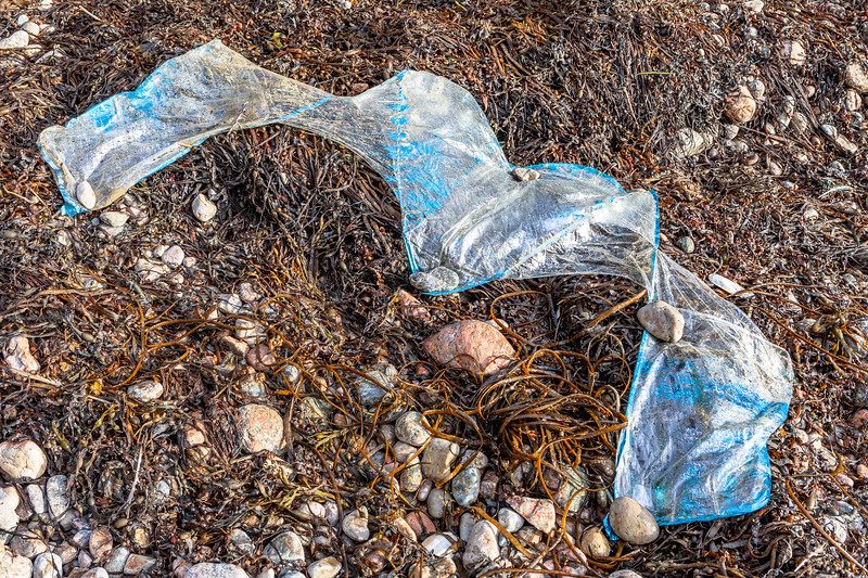 A DBCY foil balloon washed up and spread out on the shore at Petit Port on Guernsey's south coast on 25th October 2019