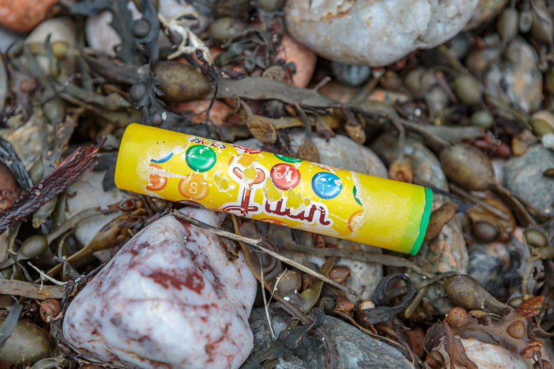 Food packaging litter washed up at Petit Port on Guernsey's south coast on 6th February 2016