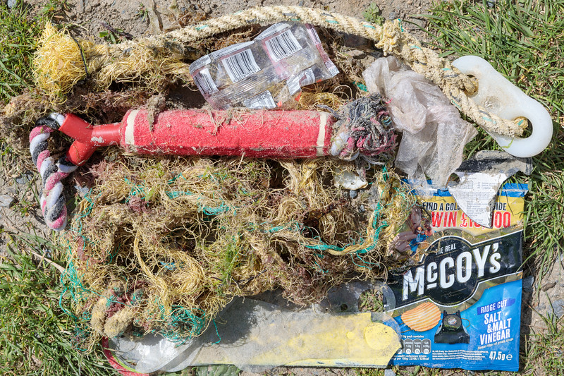 A few litter items along seaweed strand-line of Ladies Bay on Guernsey's north coast on .13 May 2018