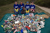 Guernsey Post Office employees with litter they collected from Saline Bay, Guernsey