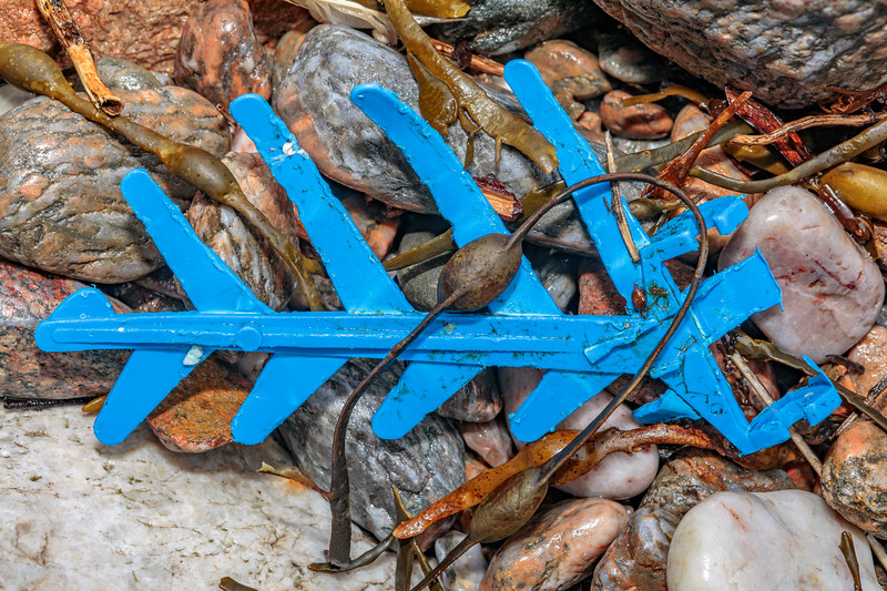 Crab pot funnel lok hand at Petit Port on Guernsey's south coast on 15th February 2020