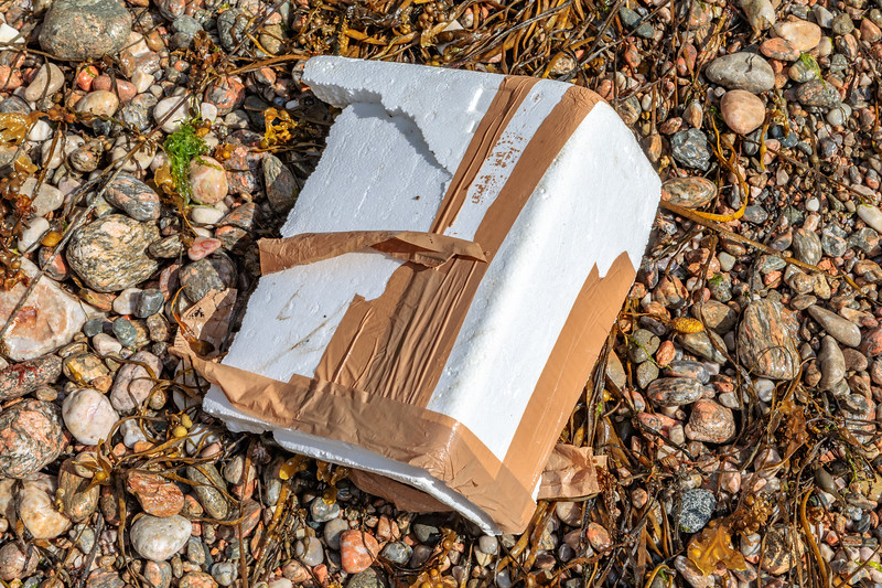 Piece of polystyrene box washed up at Petit Port on Guernsey's south coast on 4th July 2020