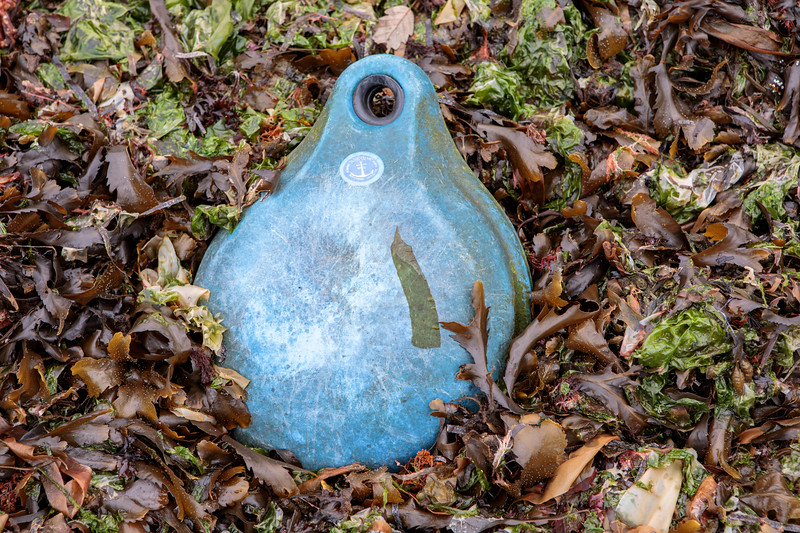 Plastic float washed up on the Belle Greve Bay sea shore on Guernsey's east coast on 10th April 2019