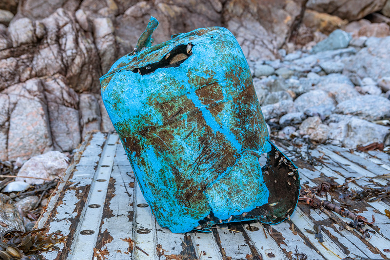 Broken blue plastic jerry can washed up at Petit Port on Guernsey's south coast on the 17th February 2020