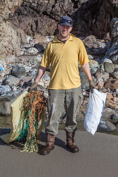 Jockathon Pettitt with some of the marine litter collected from Petit Port on Guernsey's south coast on 16th February 2014
