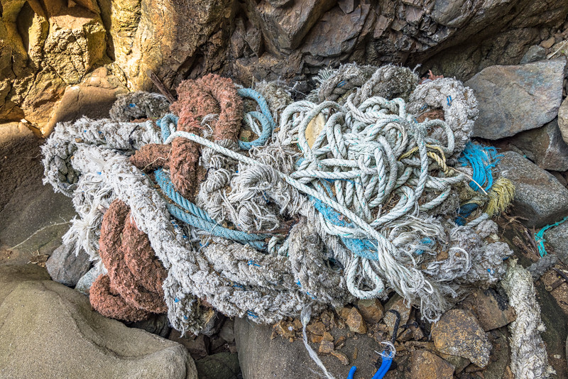 Bundle of rope and hawser at the top of a ravine leading to Telegraph Bay on Guernsey's south-east coast