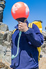 Pierre Ehmann holds polyform buoy he found at Pecqueries on Guernsey's north-west coast on the 22nd May 2021