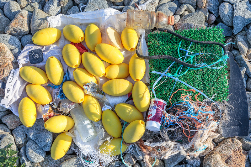 Litter collected along Portinfer's cobble sea shore on 7 September 2019