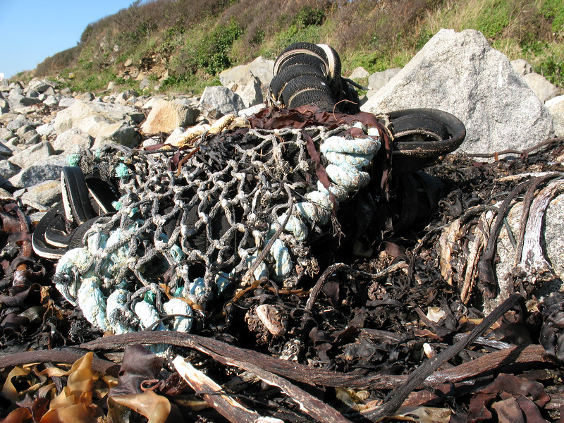 Broken inkwell crab pot washed up on the sea shore at Champ Rouget, Guernsey