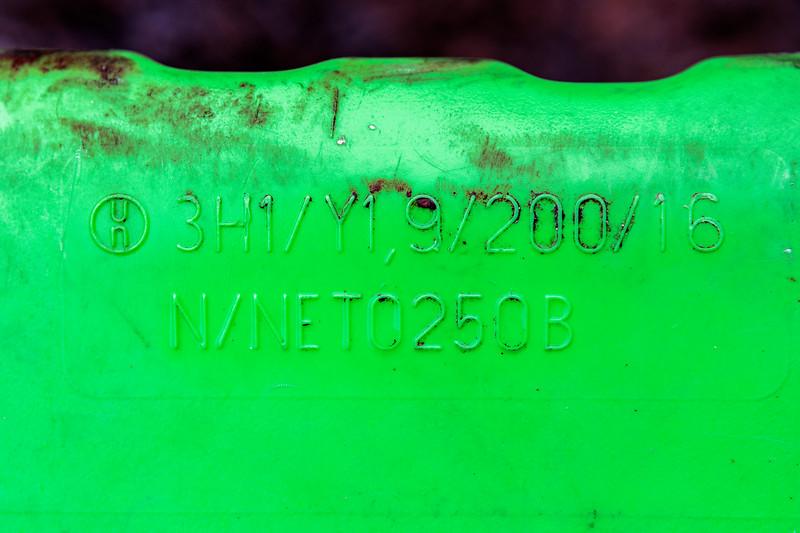 Green jerry can found on the sea shore at Petit Port on Guernsey's south coast on 4th July 2020