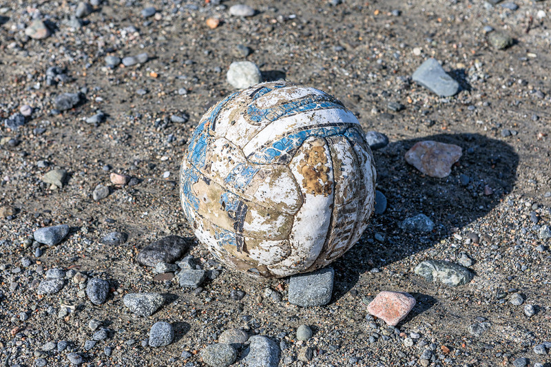 Mitre football washed up on the Belle Greve Bay sea shore on Guernsey's east coast on 7 September 2019
