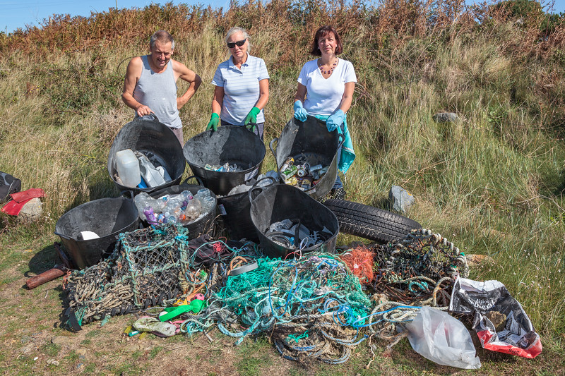 Sea shore litter collected from Champ Rouget, Chouet on Guernsey's north west coast on 18th September 2010