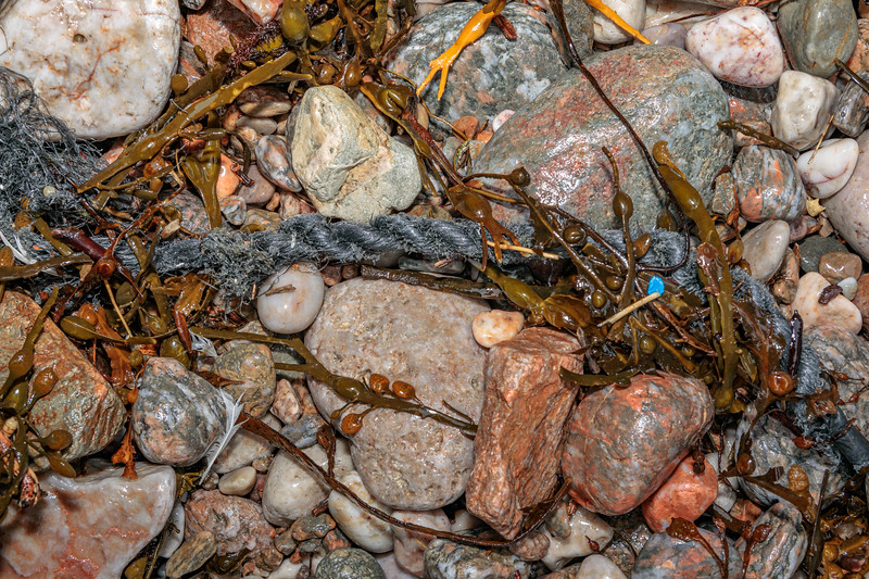 Frayed and twisted grey rope washed up at Petit Port on Guernsey's south coast on 15th February 2020
