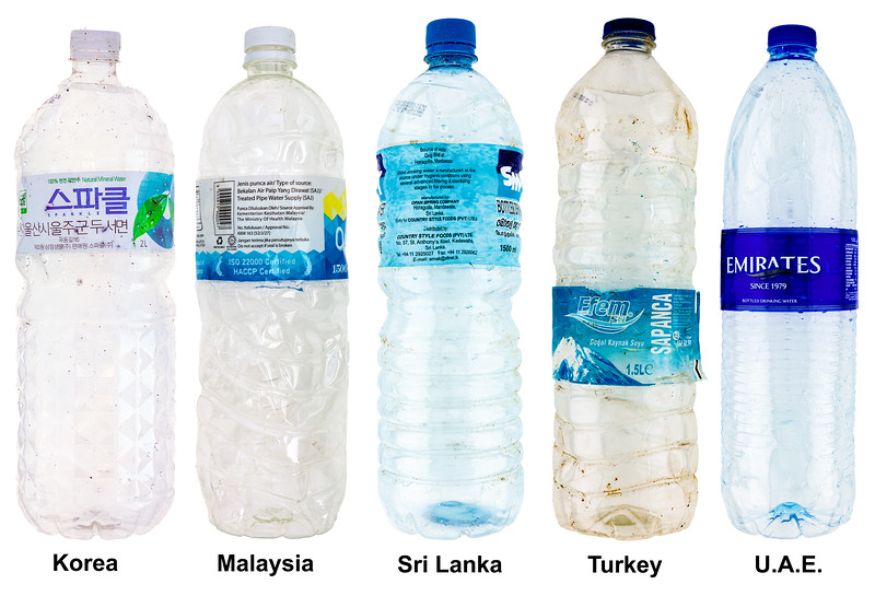 Plastic water bottles from five nations washed up on the Guernsey sea shore