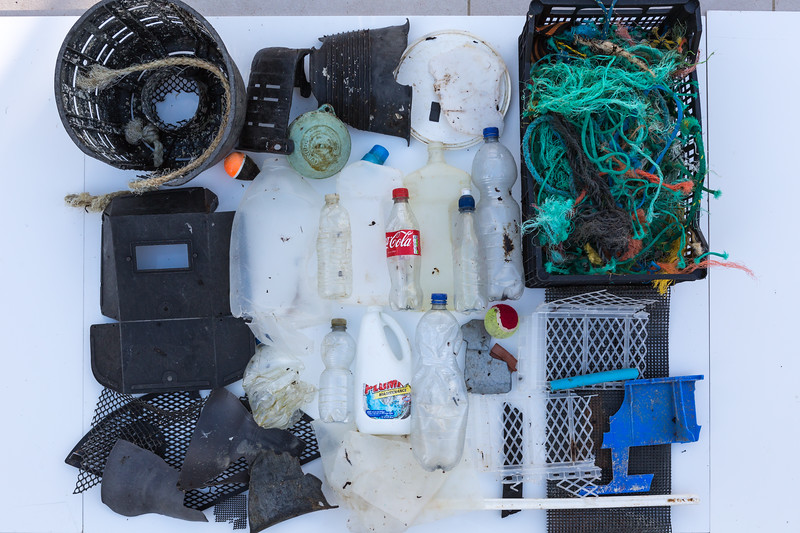 Some of the larger plastic litter items collected from Petit Port on Guernsey's south coast on 10th January 2016