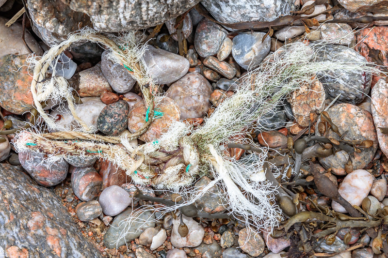 Frayed knotted rope washed up at Petit Port on Guernsey's south coast on 26th February 2020
