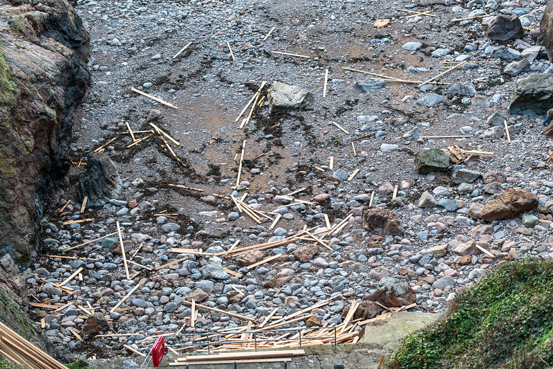 Planks of wood lost by MV Koningsborg washed up at Petit Port on Guernsey's south coast