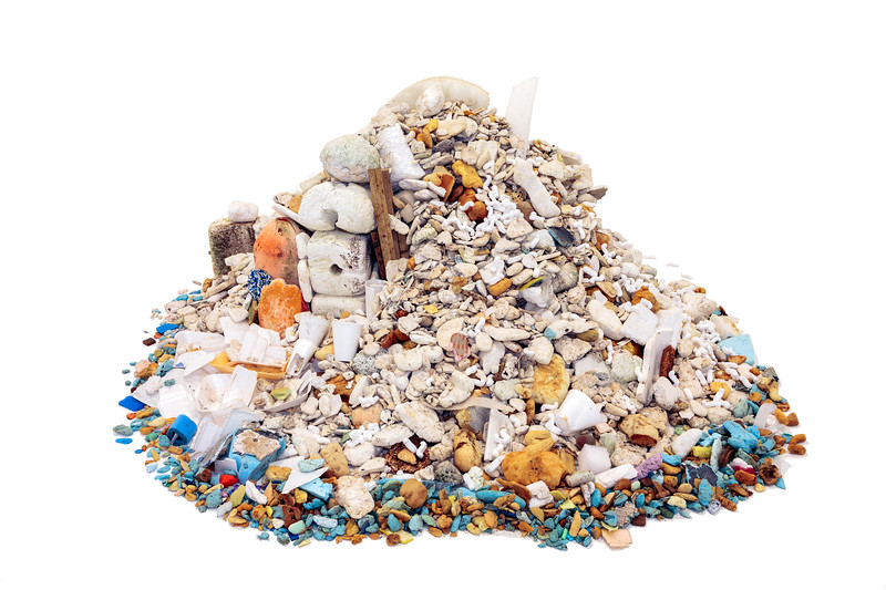 Thousands of pieces of polystyrene and polyurethane foam collected from the Guernsey sea shore