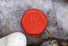 A red Smartie lid with a lowercase letter 'b' embossed on it at Petit Port on Guernsey's west coast on 23rd January 2021