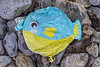 'Fish' balloon on the shore to the east of Fort Le Marchant on Guernsey's north coast on the 24th September 2021