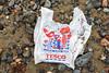 Tesco supermarket plastic bag on the Belle Greve Bay shore on Guernsey's east coast on 13 January 2018