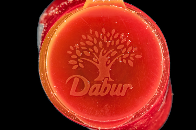 Dabur Indian tooth powder plastic bottle collected by Wendy Le Prevost on Guernsey's west coast on the 30th May 2021
