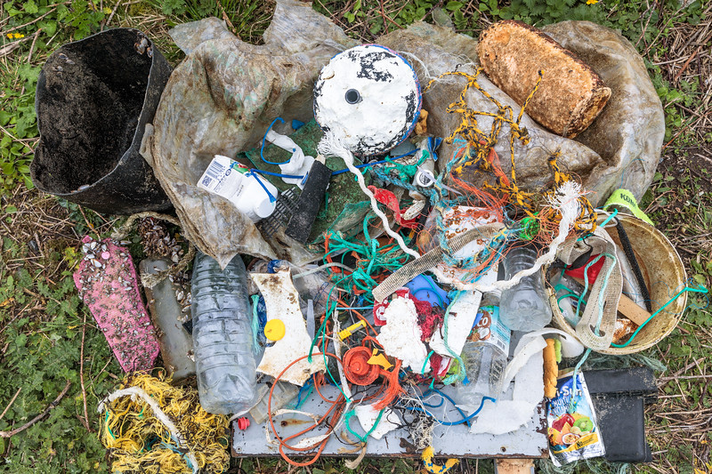 Beach litter collected on 15 March 2019 from Portinfer on Guernsey's west coast