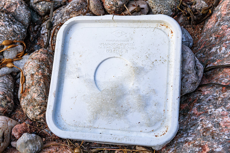 A plastic lid made in Canada washed up at Petit Port on Guernsey's south coast on 17th February 2020