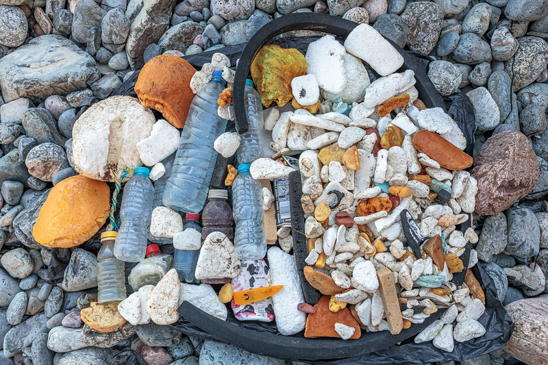 Litter collected from the Pleinmont sea shore on Guernsey's southwest coast on 29th August 2020