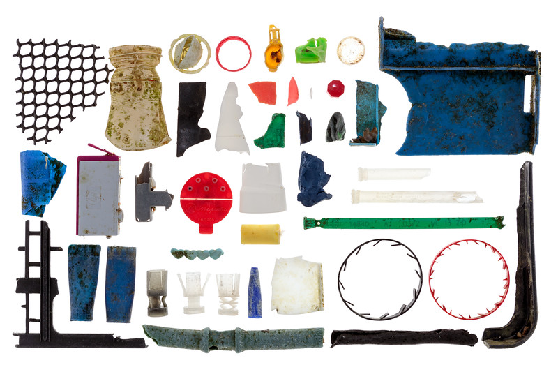 Small pieces of hard plastic litter collected from Petit Port on Guernsey's south coast on 26 January 2018