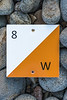Orienteering sign at Baie des Pecqueries on Guernsey's west coast on the 23rd January 2021