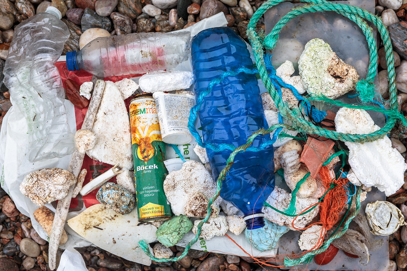Litter collected at Petit Port on Guernsey's south coast on 12th October 2019