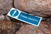 Think Safety sign at Petit Port on Guernsey's south coast on 12th December 2019