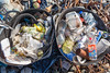 Litter collected from the Champ Rouget, Chouet sea shore on Guernsey's north west coast on 17th February 2013