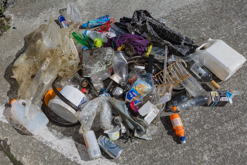 Litter collected from the Belle Greve bay sea shore, Guernsey on 26 April 2014